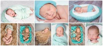 Κοισμένος νεογέννητο κολάζ μωρών Στοκ Εικόνες