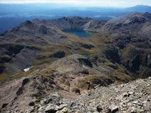 Κοιτάξτε από το υποστήριγμα Angelus - τη λίμνη Angelus, λίμνες του Nelson, Νέα Ζηλανδία Στοκ Εικόνες