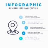 Κοιτάξτε βιαστικά, χαρτογραφήστε, ναυσιπλοΐα, μπλε πρότυπο 5 Infographics θέσης βήματα Διανυσματικό πρότυπο εικονιδίων γραμμών ελεύθερη απεικόνιση δικαιώματος