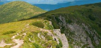 Κοιλάδα βουνών μια ηλιόλουστη ημέρα το καλοκαίρι Carpathians Στοκ Φωτογραφίες