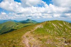 Κοιλάδα βουνών μια ηλιόλουστη ημέρα το καλοκαίρι Carpathians Στοκ Φωτογραφία