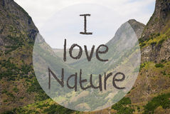 Κοιλάδα και βουνό, Νορβηγία, κείμενο Ι φύση αγάπης Στοκ φωτογραφία με δικαίωμα ελεύθερης χρήσης