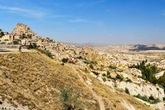 Κοιλάδα περιστεριών και κάστρο Uchisar σε Cappadocia Τουρκία Στοκ φωτογραφίες με δικαίωμα ελεύθερης χρήσης