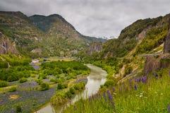 Κοιλάδα ποταμών Simpson, Παταγωνία, Χιλή Συννεφιάζω ημέρα στοκ εικόνες