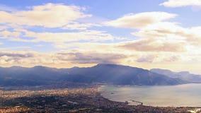 Κοιλάδα της Πομπηίας, άποψη από το Βεζούβιο. Ιταλία απόθεμα βίντεο
