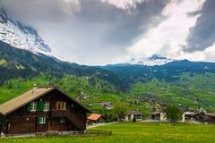 Κοιλάδα Grindelwald με το χωριό που διασκορπίζεται στις πράσινες κλίσεις ο Στοκ Εικόνα