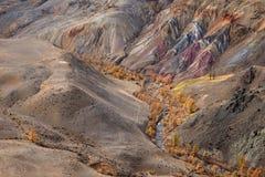 Κοιλάδα kyzyl-πηγουνιών, βουνά Altai, Ρωσία Το χρωματισμένο kyzyl-πηγούνι βράχων άλλο όνομα είναι Άρης Γραφικό Αριανό τοπίο από τ Στοκ φωτογραφία με δικαίωμα ελεύθερης χρήσης