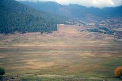 Κοιλάδα Phobjikha, Μπουτάν Στοκ Φωτογραφίες