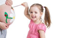 Κοιλιά της μητέρας ζωγραφικής κοριτσιών παιδιών Στοκ Εικόνες