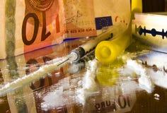 Κοκαΐνη: εργαλεία για την ενδοφλέβια κατάχρηση Στοκ Φωτογραφία