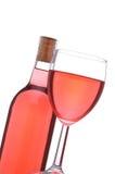κοκκινίστε κρασί γυαλιού μπουκαλιών Στοκ εικόνα με δικαίωμα ελεύθερης χρήσης