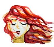 Κοκκινομάλλες κορίτσι με την πετώντας τρίχα απεικόνιση αποθεμάτων