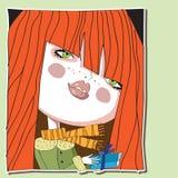 Κοκκινομάλλες κορίτσι με ένα δώρο διαθέσιμο Στοκ φωτογραφία με δικαίωμα ελεύθερης χρήσης