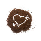 Κοκκώδες σημάδι καρδιών καφέ Στοκ Εικόνες