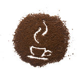 Κοκκώδης καφές με το φλυτζάνι Στοκ εικόνα με δικαίωμα ελεύθερης χρήσης