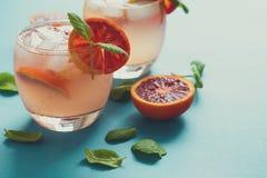 Κοκτέιλ πορτοκαλιών αίματος με τις φέτες του πορτοκαλιού Στοκ Φωτογραφίες