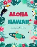 Κοκτέιλ με hibiscus τα λουλούδια, τα φύλλα πουλιών, χελωνών, σερφ και φοινικών Πρόσκληση Β, έμβλημα, κάρτα, αφίσα, ιπτάμενο ελεύθερη απεικόνιση δικαιώματος