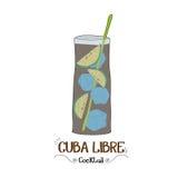 Κοκτέιλ της Κούβας Libre για μια απεικόνιση πελατών για την επιχείρηση φραγμών Στοκ φωτογραφίες με δικαίωμα ελεύθερης χρήσης