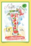 Κοκτέιλ φραουλών - αφίσα για το κόμμα Στοκ Φωτογραφίες