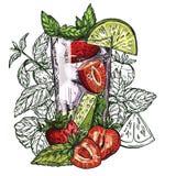 Κοκτέιλ Mojito, φράουλα Στοκ εικόνα με δικαίωμα ελεύθερης χρήσης