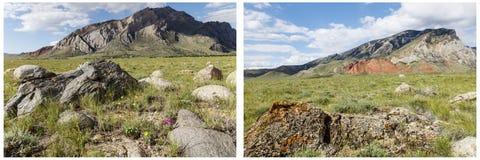 Κολάζ βουνών σχηματισμών ασβεστόλιθων γρανίτη Στοκ Φωτογραφία