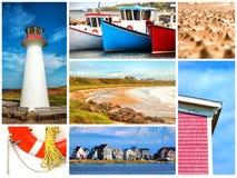 Κολάζ για το νησί Magdalen στον Καναδά Στοκ Φωτογραφίες