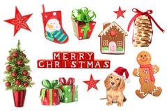 Κολάζ διακοσμήσεων Χριστουγέννων Στοκ Εικόνα