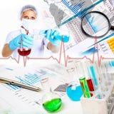 Κολάζ επιστήμης και επιχειρήσεων ιατρικής στοκ φωτογραφία