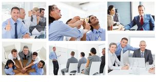 Κολάζ επιχειρησιακής συνεδρίασης ομαδικής εργασίας στοκ φωτογραφίες