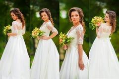 Κολάζ με την όμορφη νύφη υπαίθρια Στοκ Εικόνες