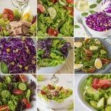 Κολάζ με τις φρέσκες σαλάτες, πράσινα φύλλα, λαχανικά, τόνος στοκ εικόνες