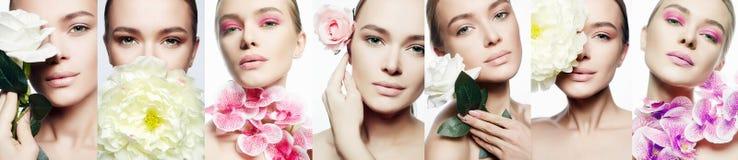 Κολάζ ομορφιάς Γυναίκα με τη σύνθεση και τα λουλούδια στοκ φωτογραφίες με δικαίωμα ελεύθερης χρήσης