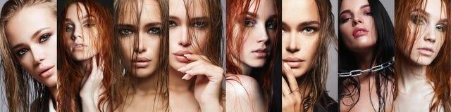 Κολάζ ομορφιάς των γυναικών με την υγρή τρίχα στοκ εικόνες με δικαίωμα ελεύθερης χρήσης