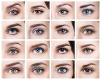 Κολάζ πολλών θηλυκών ματιών με το διαφορετικό χρώμα στοκ εικόνες με δικαίωμα ελεύθερης χρήσης