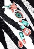 Κολάζ σε ένα ύφος περιοδικών μόδας με τα τρελλά χείλια και τα μάτια κοριτσιών Στόμα κοριτσιών και κινηματογράφηση σε πρώτο πλάνο  στοκ εικόνες
