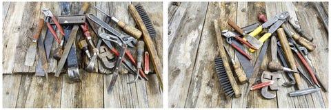 Κολάζ σωρών σκουριάς εργαλείων πενσών γαλλικών κλειδιών Στοκ Εικόνα