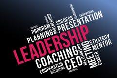 Κολάζ σύννεφων λέξης ηγεσίας, υπόβαθρο επιχειρησιακής έννοιας διανυσματική απεικόνιση