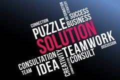 Κολάζ σύννεφων λέξης λύσης, επιχείρηση και υπόβαθρο έννοιας ομαδικής εργασίας διανυσματική απεικόνιση