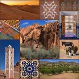 Κολάζ ταξιδιού του Μαρόκου κάρτα στοκ εικόνα