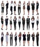 Κολάζ της επιτυχούς σύγχρονης επιχειρηματία Απομονωμένος στο λευκό στοκ φωτογραφίες