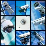 Κολάζ της κάμερας ή του συστήματος παρακολούθησης CCTV ασφάλειας κινηματογραφήσεων σε πρώτο πλάνο Στοκ φωτογραφίες με δικαίωμα ελεύθερης χρήσης