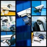 Κολάζ της κάμερας ή του συστήματος παρακολούθησης CCTV ασφάλειας κινηματογραφήσεων σε πρώτο πλάνο Στοκ Εικόνα