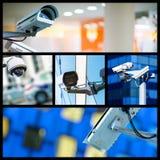 Κολάζ της κάμερας ή του συστήματος παρακολούθησης CCTV ασφάλειας κινηματογραφήσεων σε πρώτο πλάνο Στοκ Φωτογραφία