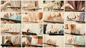 Κολάζ της ολίσθησης και της δακτυλογράφησης της οθόνης αφής του έξυπνου υπολογιστή τηλεφώνων ή ταμπλετών απόθεμα βίντεο