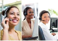 Κολάζ της ομάδας βοήθειας εξυπηρέτησης πελατών στο τηλεφωνικό κέντρο στοκ φωτογραφίες