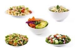 Κολάζ της υγιούς σαλάτας Ελληνική σαλάτα, σαλάτα ζυμαρικών, σαλάτα Caesar και κύπελλο του Βούδα στοκ εικόνα με δικαίωμα ελεύθερης χρήσης