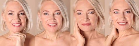 Κολάζ της ώριμης γυναίκας με το όμορφο πρόσωπο στοκ εικόνα