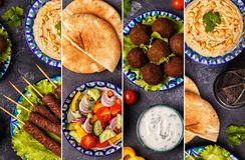 Κολάζ του παραδοσιακού Μεσο-Ανατολικού ή αραβικού πιάτου Στοκ Εικόνες