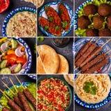 Κολάζ του παραδοσιακού Μεσο-Ανατολικού ή αραβικού πιάτου Στοκ Φωτογραφία