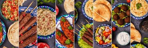 Κολάζ του παραδοσιακού Μεσο-Ανατολικού ή αραβικού πιάτου Στοκ Φωτογραφίες